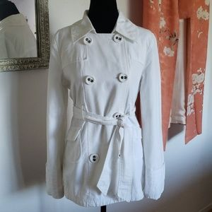 Anthropologie/Tulle white pea/trench style jacket